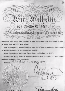 Kriegserklärung des deutsche Kaisers von 1914